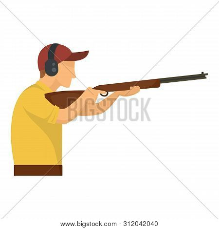 Sport Shooter Icon. Flat Illustration Of Sport Shooter Vector Icon For Web Design