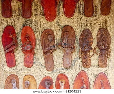 Handmade Sandels On Burlap