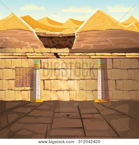 Ancient Egypth, Lost Looted Tomb Of Pharaoh Or Abandoned Temple Interior, Underground Cartoon Vector
