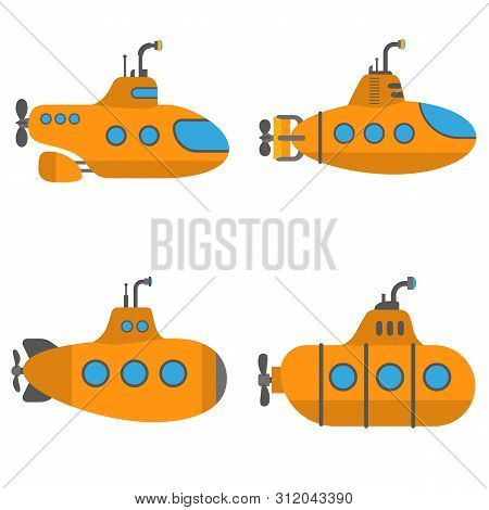 Periscope Submarine Icons Set. Flat Set Of Periscope Submarine Vector Icons For Web Design