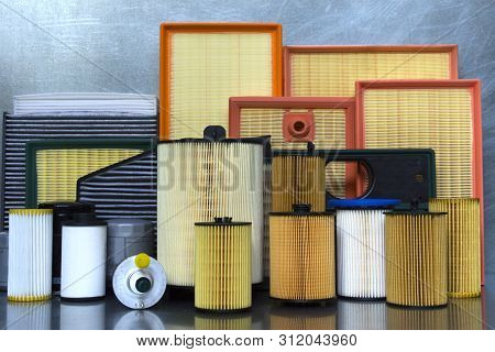 Auto parts accessories: oil filter, air filter, fuel filter, cabin filter, spark plugs and engine oi