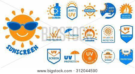 Sunscreen Logo Set. Flat Set Of Sunscreen Vector Logo For Web Design