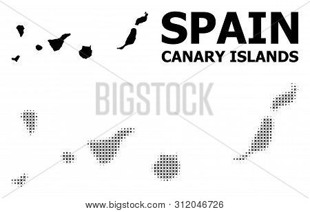 Halftone And Solid Map Of Canary Islands Composition Illustration. Vector Map Of Canary Islands Comp