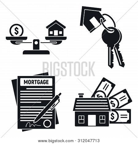 Mortgage House Icons Set. Simple Set Of Mortgage House Vector Icons For Web Design On White Backgrou