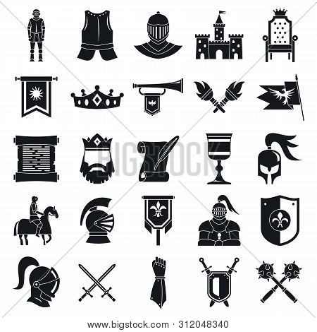 Knight Icons Set. Simple Set Of Knight Vector Icons For Web Design On White Background