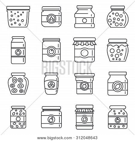 Jam Jar Jelly Icons Set. Outline Set Of Jam Jar Jelly Vector Icons For Web Design Isolated On White