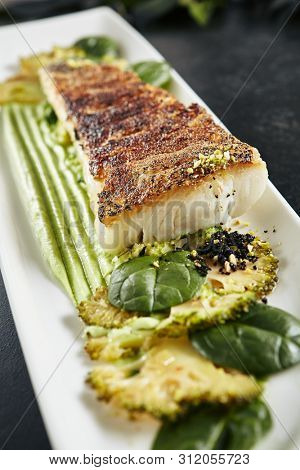 Beautiful Restaurant Plate of Baked Halibut Fillet and Broccoli in Different Textures. Exquisite Italian Dish of Grilled Flatfish or Sole Fish on Natural Black Stone, Leaves Background poster