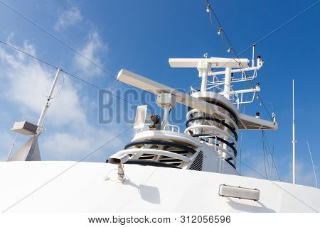 Radar Tower Navigational Equipment On Cruise Ship.