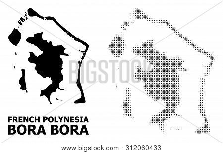 Halftone And Solid Map Of Bora-bora Composition Illustration. Vector Map Of Bora-bora Composition Of