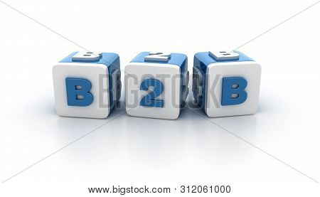Buzzword Tile Blocks With B2b Word - High Quality 3d Rendering