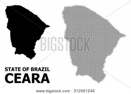 Halftone And Solid Map Of Ceara State Composition Illustration. Vector Map Of Ceara State Compositio