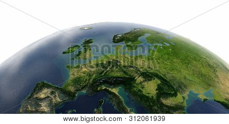 Highly Detailed Planet Earth With Exaggerated Relief And Transparent Oceans Illuminated By Sunlight.