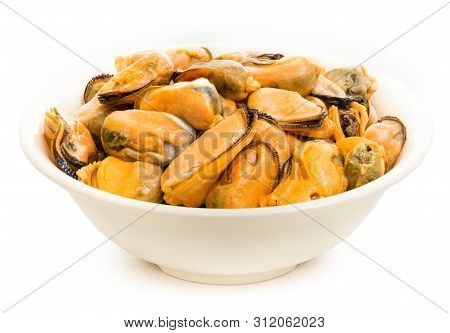 Snack To Beer, Mussels With Spices, Closeup Cuisine