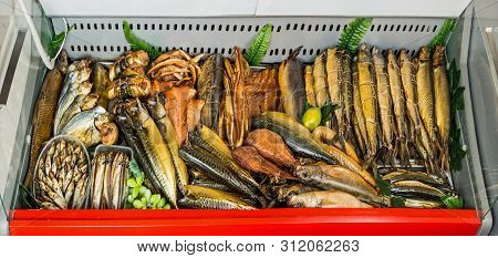 Counter With Smoked Fish In Assortment, Gourmet Gastronomy