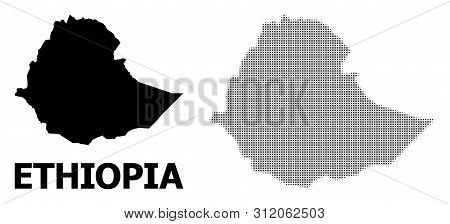 Halftone And Solid Map Of Ethiopia Collage Illustration. Vector Map Of Ethiopia Combination Of X-cro