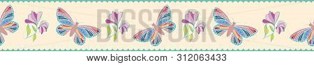 Modern Hand Drawn Butterflies And Flowers Border. Seamless Vector Pattern On Scalloped Pastel Stripe