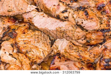 Beef Or Pork Meat Barbecue  Prepared Grilled On Barbecue