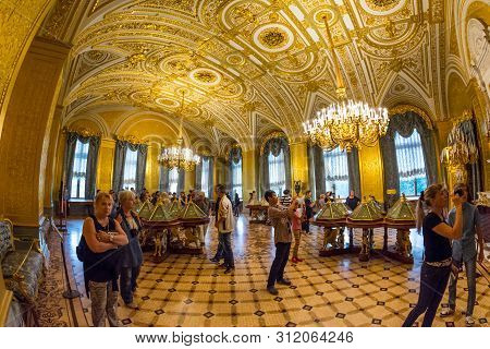 Golden Room In The State Hermitage, A Museum Of Art And Culture In Saint Petersburg, Russia.