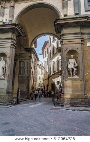 Florence, Italy - May 10, 2019: Via Lambertesca Close Up