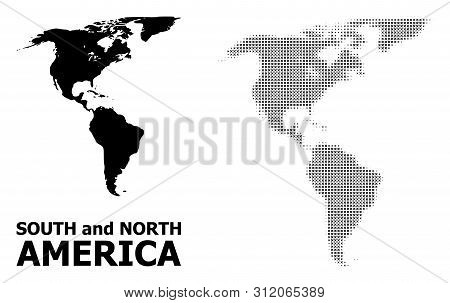 Halftone And Solid Map Of South And North America Composition Illustration. Vector Map Of South And