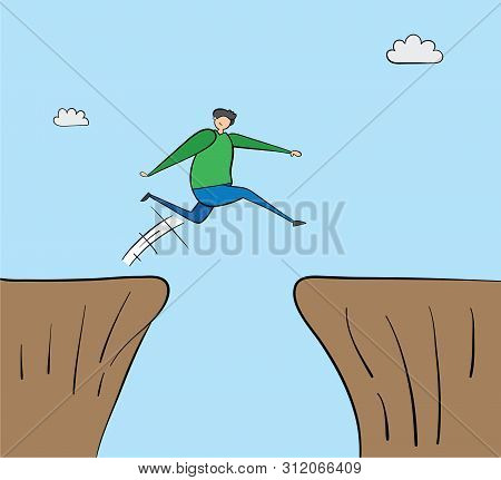 Man Jumping Over Abyss, Hand-drawn Vector Illustration. Black Outlines And Colored.