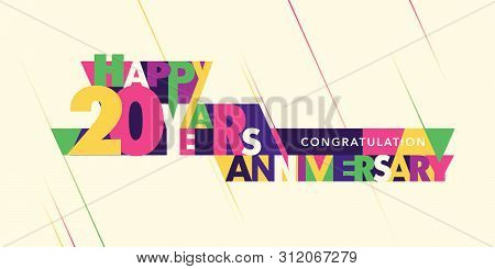20 Years Anniversary Vector Logo, Icon. Template Banner With Modern Composition Of Letters And Numbe
