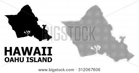 Halftone And Solid Map Of Oahu Island Composition Illustration. Vector Map Of Oahu Island Compositio