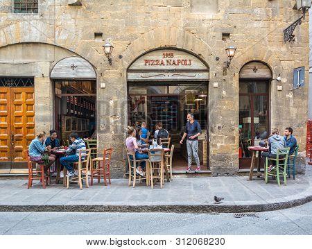 Florence, Italy - May 11, 2019: Pizza Napoli 1955 On Via Dei Neri