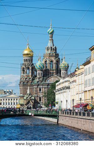 St. Petersburg, Russia - July 12, 2016: Church Of The Saviour On Spilled Blood , Griboedova Canal, S