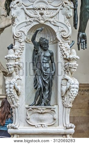 Bronze Statue Of The Perseus With The Head Of Medusa , Pedestal