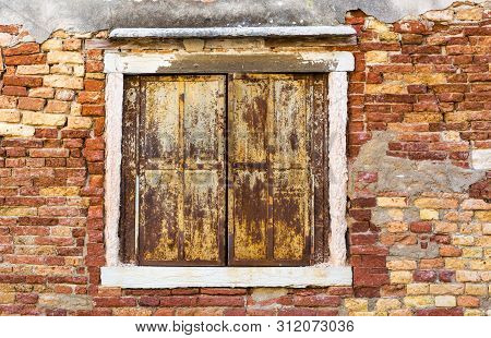 Venice, Italy - May 14, 2019: Traditional Ancient Gothic Style Window In Venice, Italy.