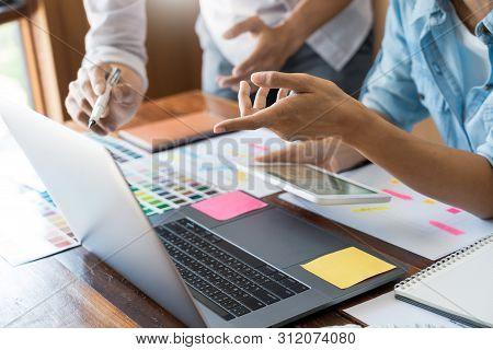 Creative Ui Designer Teamwork Meeting Planning Designing Wireframe Layout  Application Development M