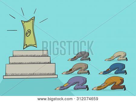 Illustration Of Men Worshiping Money, Simple Flat Vector Illustration