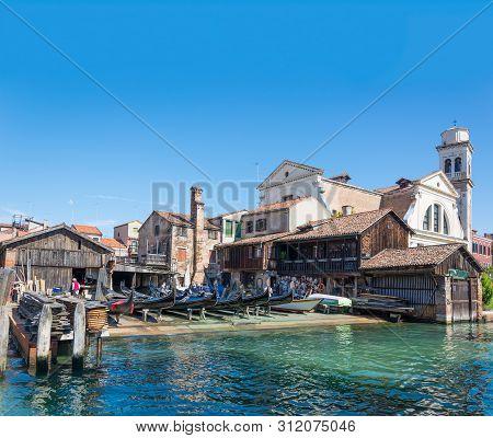 Historic Shipyard For Gondolas In Venice