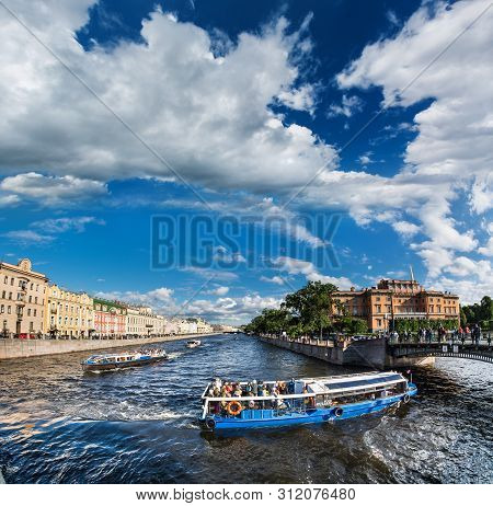 The Picturesque Promenade With Heavy Boat Traffic, St. Petersburg, Russia