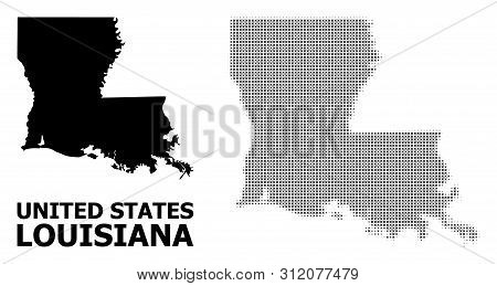 Halftone And Solid Map Of Louisiana State Composition Illustration. Vector Map Of Louisiana State Co