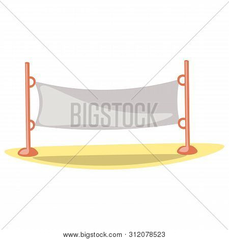 Cute Cartoon Vector Illustration Of Volleyball Net. Summer Sport Kids Activity Equipment - Volleybal