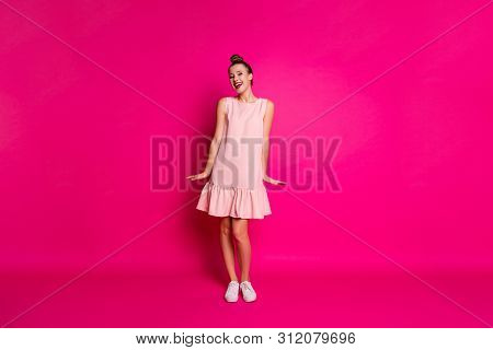 Full length body size view of her she nice-looking attractive lovely lovable cheerful cheery girl isolated over bright vivid shine pink fuchsia background poster