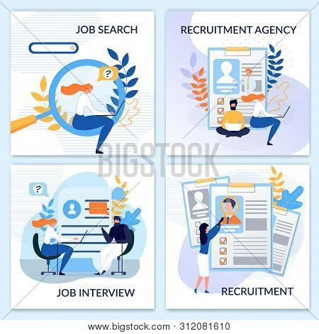 Human Resources, Job Search, Interview, Hiring, Recruitment Agency Flat Cards Set. Vector People Cha
