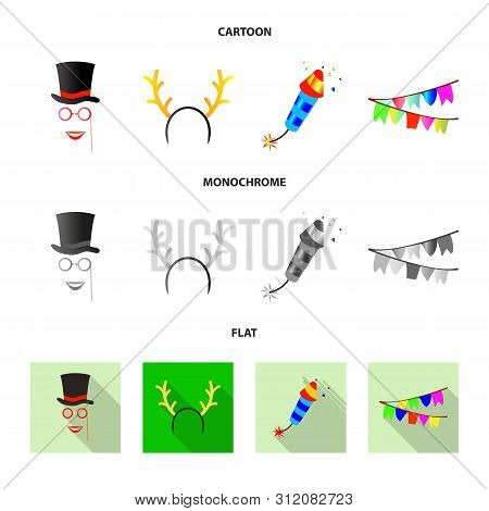Vector Illustration Of Party And Birthday Symbol. Set Of Party And Celebration Stock Symbol For Web.