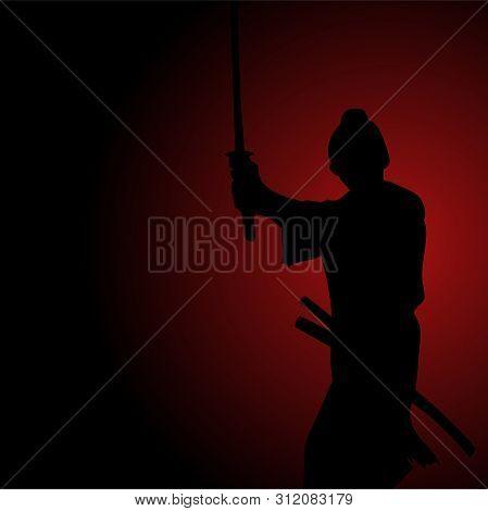Silhouette Illustration Of A Samurai, Spirit, Determination, Honor, Bushido Concept