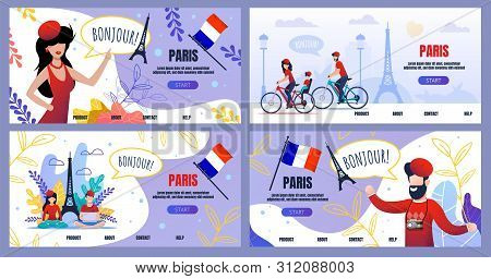 Flat Landing Page Set Advertising Voyage To Paris. Cartoon Male And Female Tourists Characters, Cult