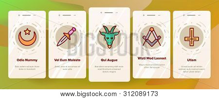 Occult, Demonic Entity Imagery Vector Onboarding Mobile App Page Screen. Satanic Rituals, Demonic Be