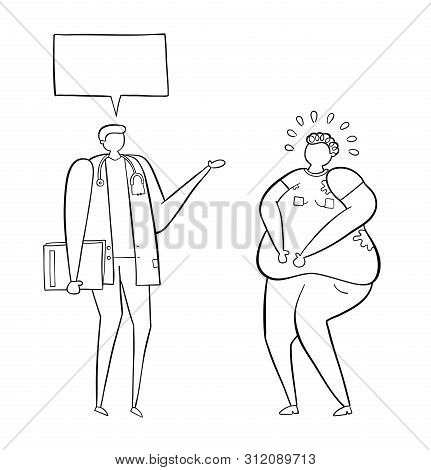 Dietitian Talking With Fat Man, Hand-drawn Vector Illustration. Black Outlines And White.