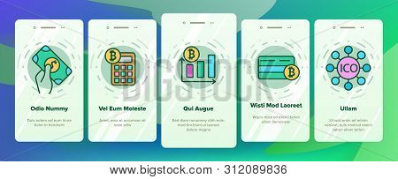 Ico, Bitcoin Vector Onboarding Mobile App Page Screen. Ico, Initial Coin Offering, Bitcoin Transacti
