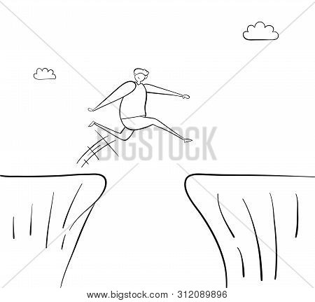 Man Jumping Over Abyss, Hand-drawn Vector Illustration. Black Outlines And White.
