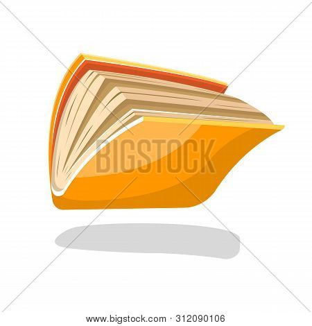 Semiopened Yellow Book Or Copybook In Paperback Falling Down Or Flying. Vector Cartoon Illustration