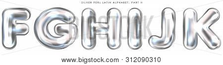 Silver Perl Foil Inflated Alphabet Symbols, Isolated Letters F-g-h-i-j-k