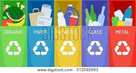 Garbage Sorting And Recycle Background With Color Trash Bins. Organic, Paper, Plastic, Metal And Gla