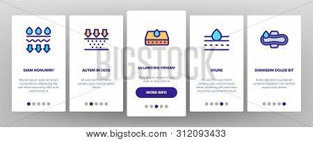 Absorbent, Absorbing Materials Vector Onboarding Mobile App Page Screen. Absorbents For Moisture Con